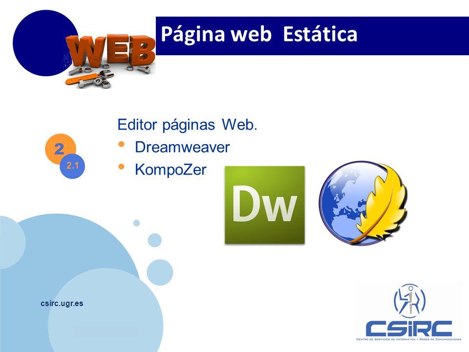 Página web Estática Editor páginas Web. Dreamweaver KompoZer 2 2.1