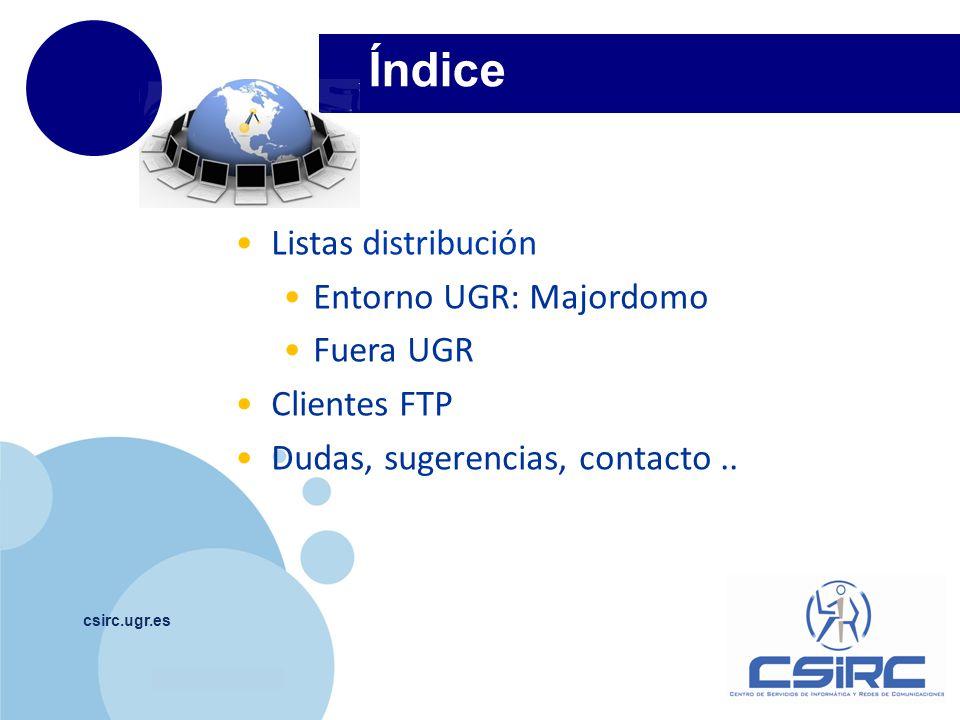 Índice Listas distribución Entorno UGR: Majordomo Fuera UGR