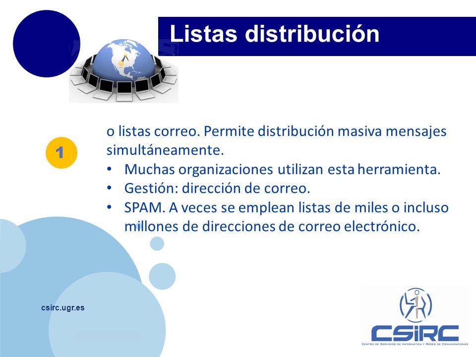 Listas distribución o listas correo. Permite distribución masiva mensajes simultáneamente. Muchas organizaciones utilizan esta herramienta.
