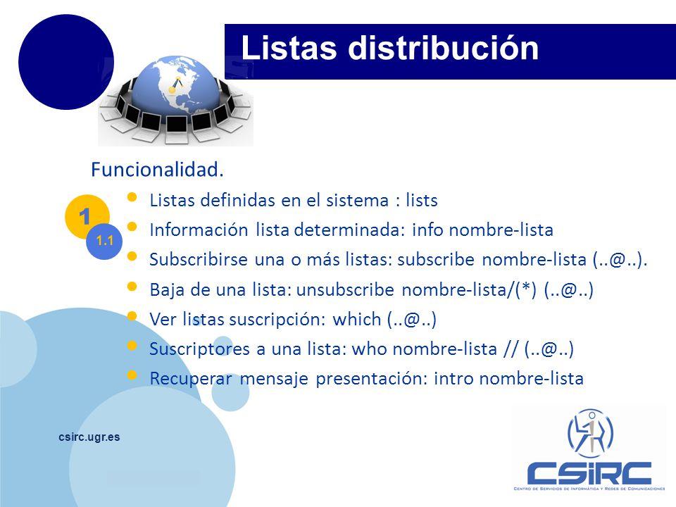 Listas distribución Funcionalidad. 1