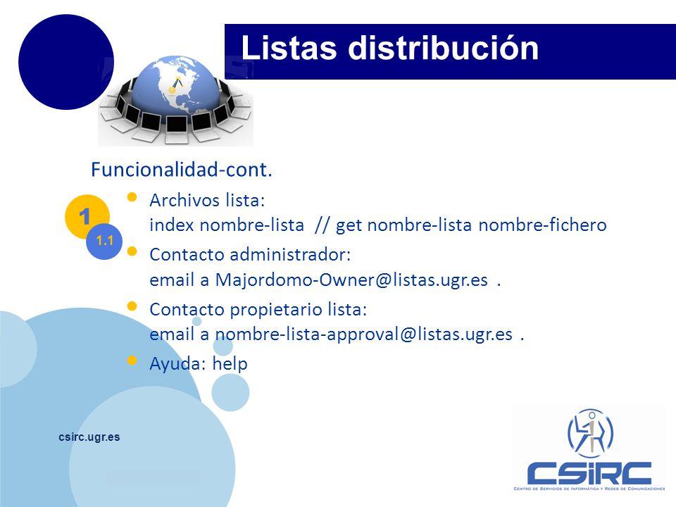 Listas distribución Funcionalidad-cont. 1