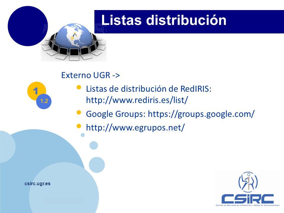 Listas distribución Externo UGR ->