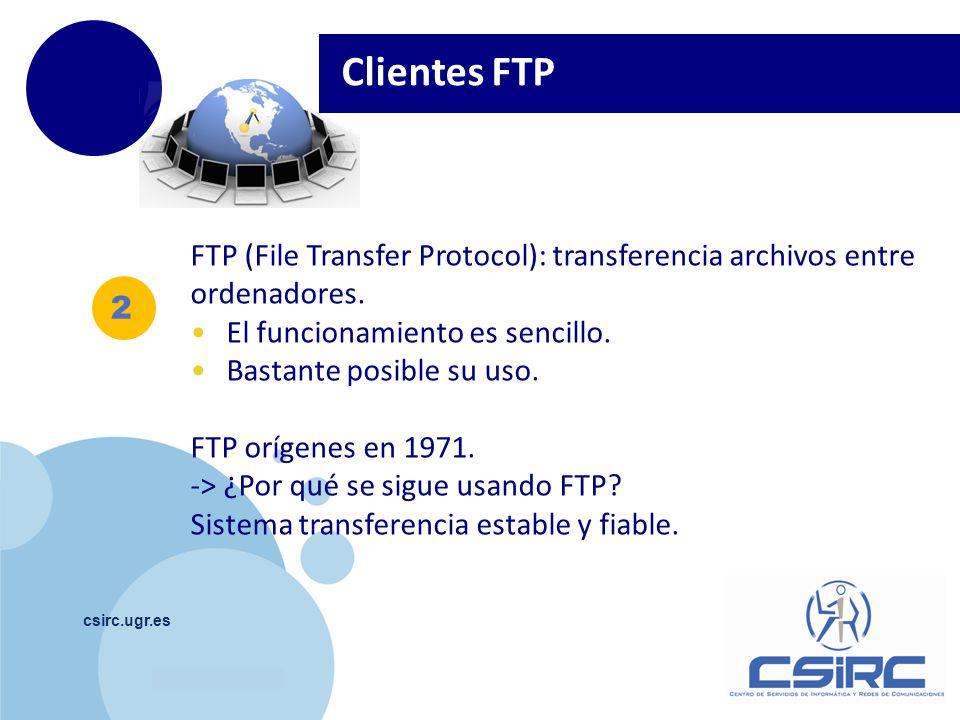 Clientes FTP FTP (File Transfer Protocol): transferencia archivos entre ordenadores. El funcionamiento es sencillo.