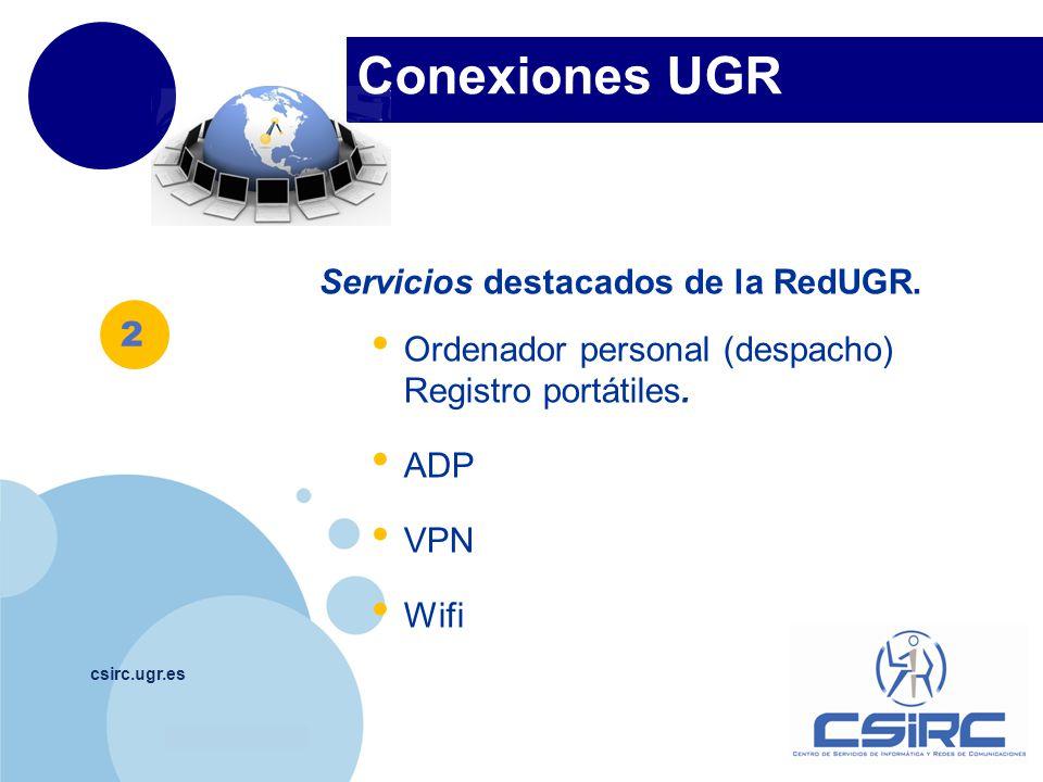 Conexiones UGR Servicios destacados de la RedUGR.