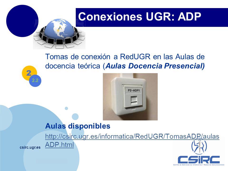 Conexiones UGR: ADP Tomas de conexión a RedUGR en las Aulas de docencia teórica (Aulas Docencia Presencial)