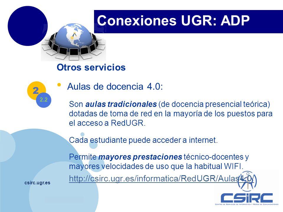 Conexiones UGR: ADP Otros servicios Aulas de docencia 4.0: 2