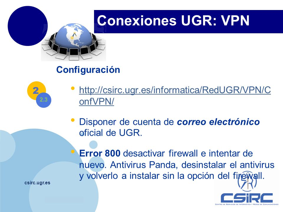 Conexiones UGR: VPN Configuración
