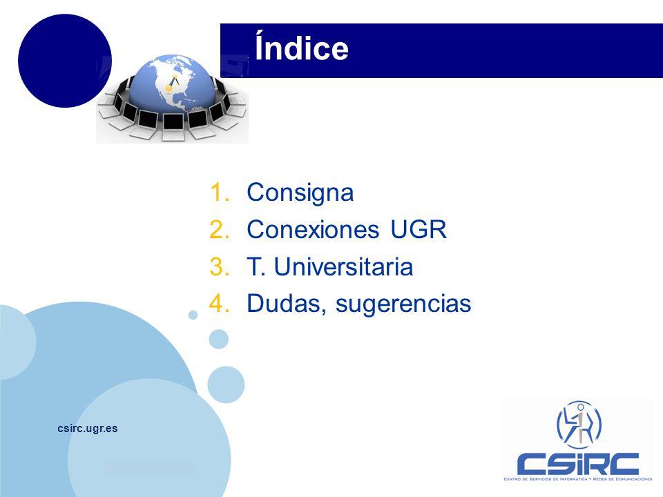 Índice Consigna Conexiones UGR T. Universitaria Dudas, sugerencias