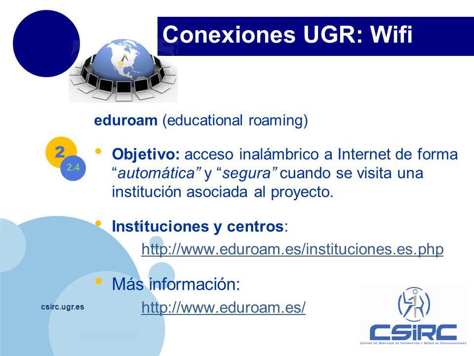 Conexiones UGR: Wifi Más información: