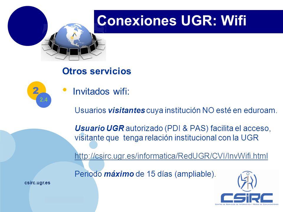 Conexiones UGR: Wifi Otros servicios Invitados wifi: 2