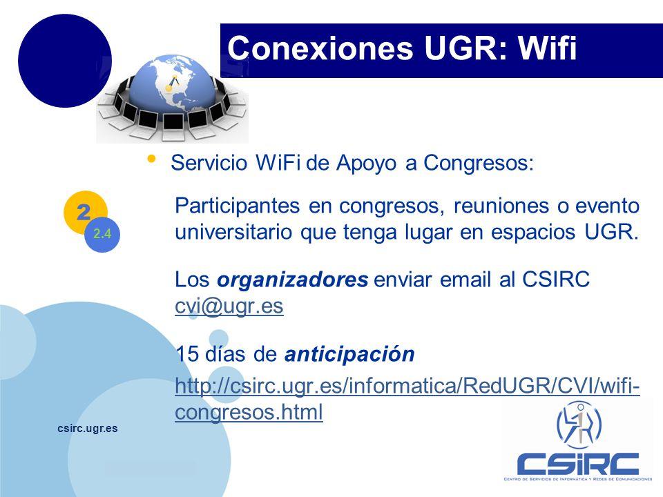 Conexiones UGR: Wifi Servicio WiFi de Apoyo a Congresos: