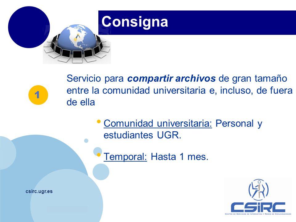 Consigna Servicio para compartir archivos de gran tamaño entre la comunidad universitaria e, incluso, de fuera de ella.