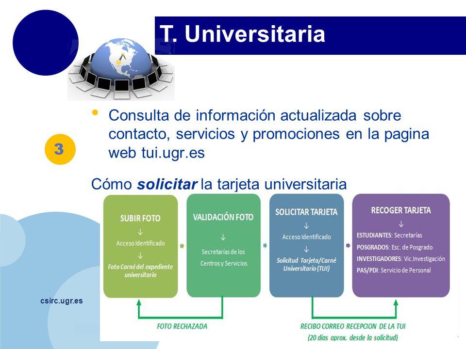 T. Universitaria Consulta de información actualizada sobre contacto, servicios y promociones en la pagina web tui.ugr.es.