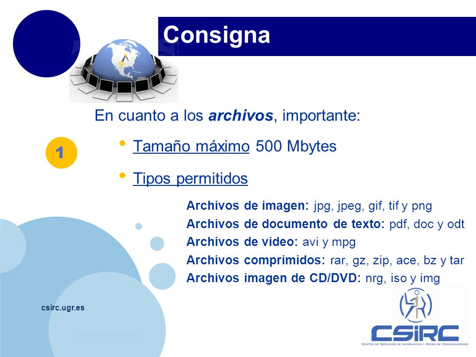 Consigna En cuanto a los archivos, importante:
