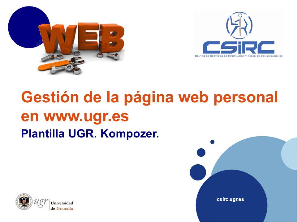 Gestión de la página web personal en www.ugr.es