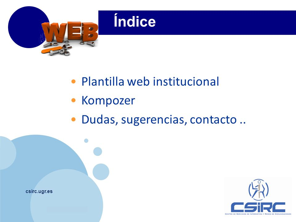 Índice Plantilla web institucional Kompozer