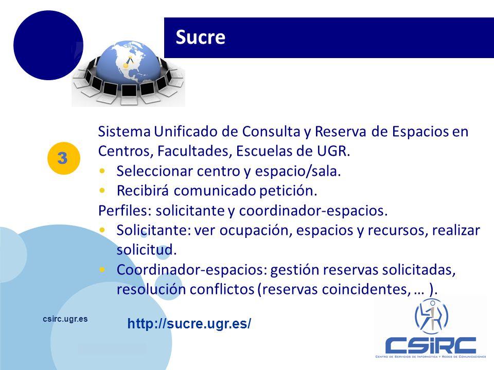 Sucre Sistema Unificado de Consulta y Reserva de Espacios en Centros, Facultades, Escuelas de UGR. Seleccionar centro y espacio/sala.