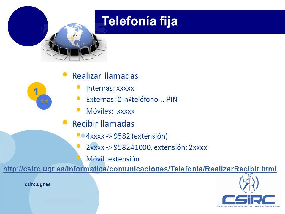 Telefonía fija Realizar llamadas 1 Recibir llamadas Internas: xxxxx