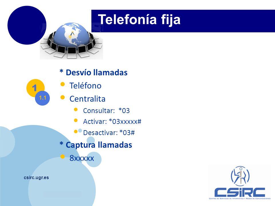 Telefonía fija * Desvío llamadas Teléfono Centralita 1