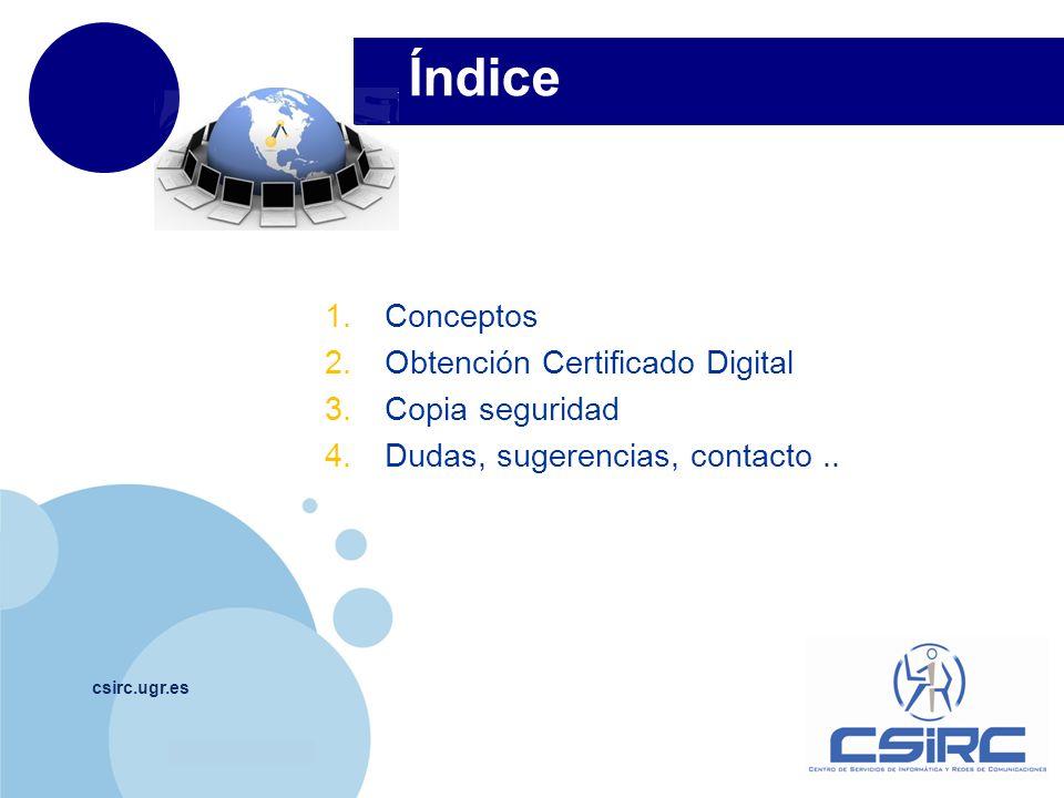 Índice Conceptos Obtención Certificado Digital Copia seguridad