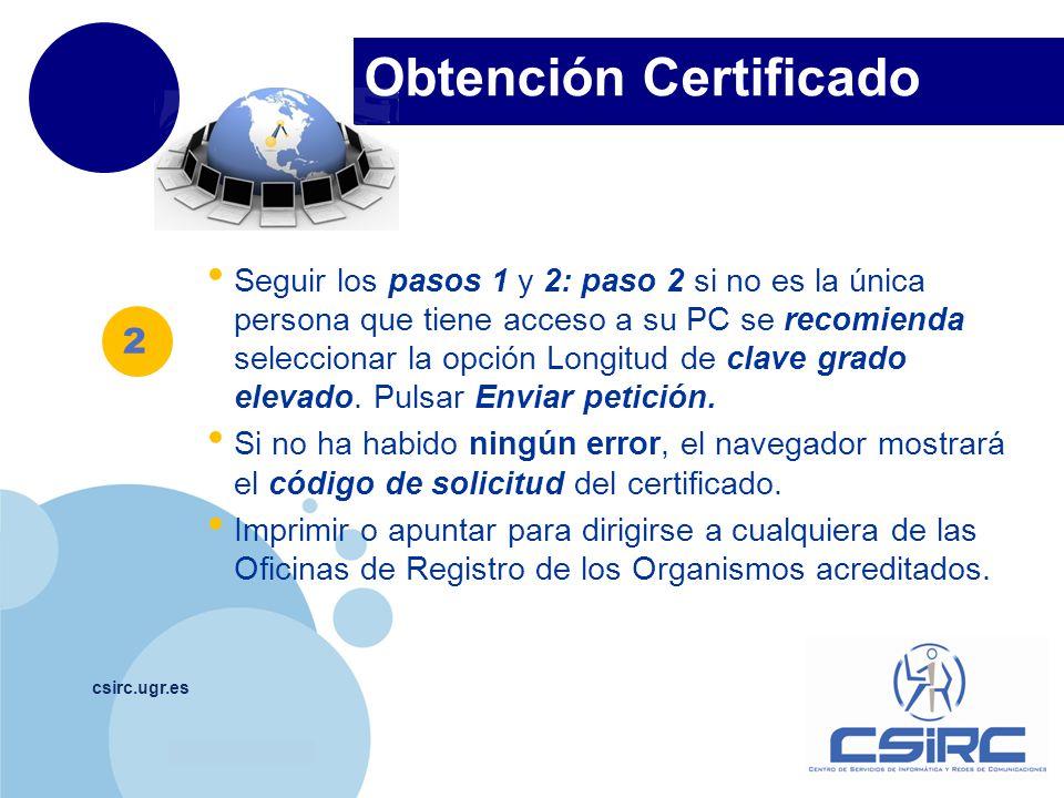 Obtención Certificado