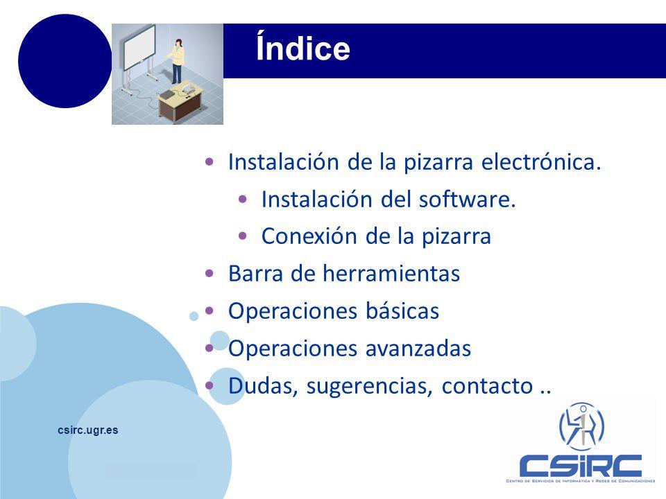 Índice Instalación de la pizarra electrónica.