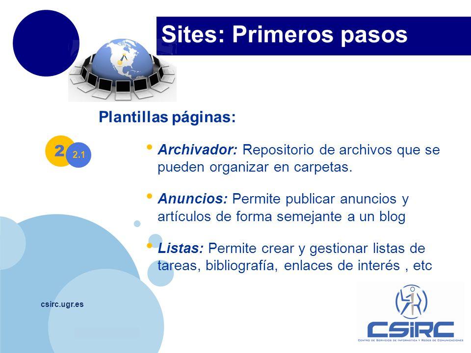 Sites: Primeros pasos Plantillas páginas: 2