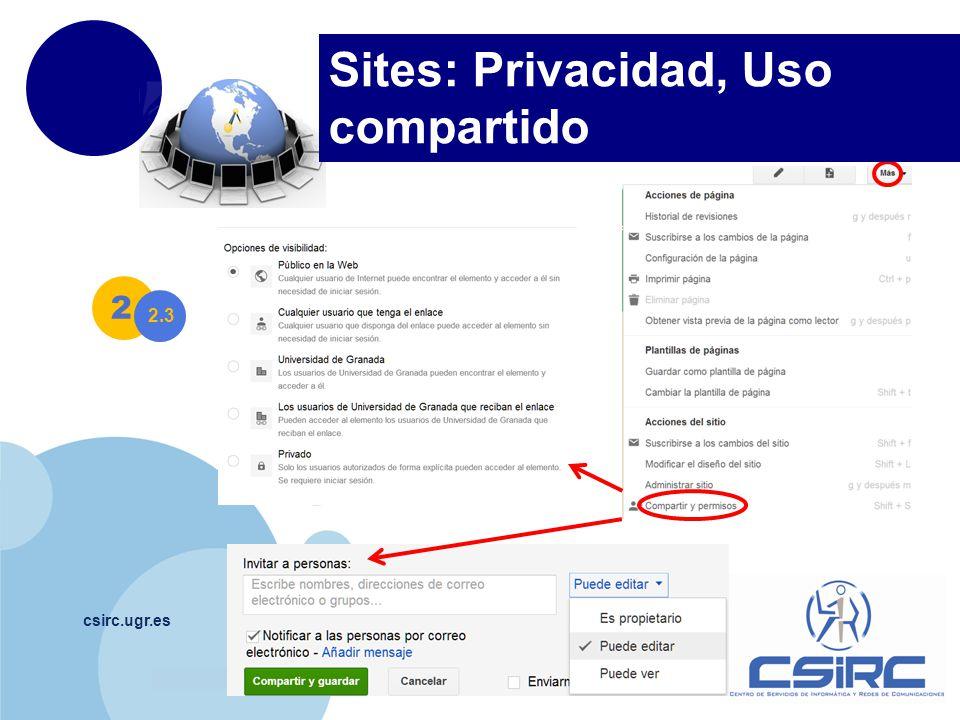 Sites: Privacidad, Uso compartido