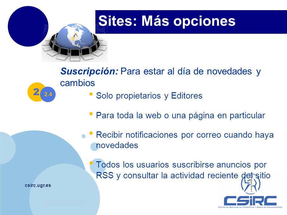 Sites: Más opciones Suscripción: Para estar al día de novedades y cambios. Solo propietarios y Editores.