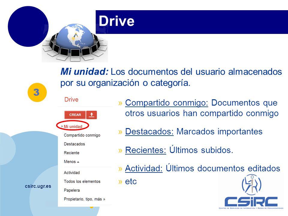 Drive Mi unidad: Los documentos del usuario almacenados por su organización o categoría.