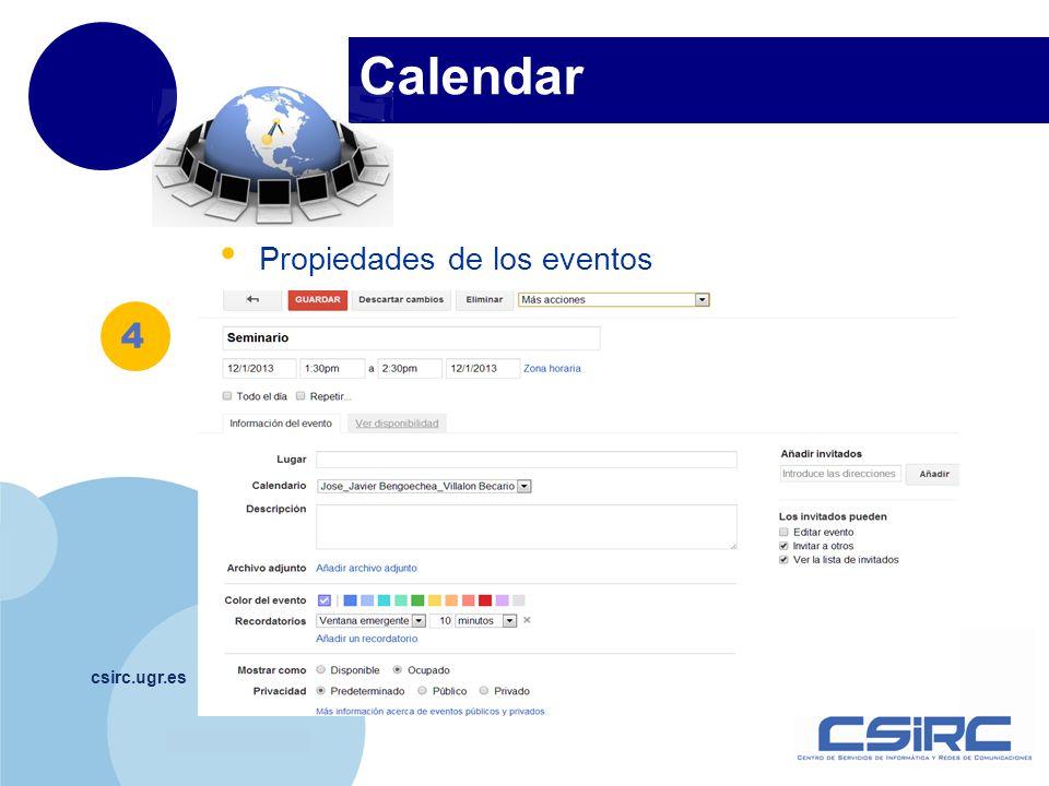 Calendar 4 Propiedades de los eventos