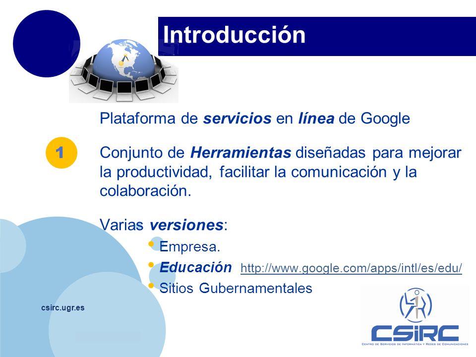 Introducción Plataforma de servicios en línea de Google