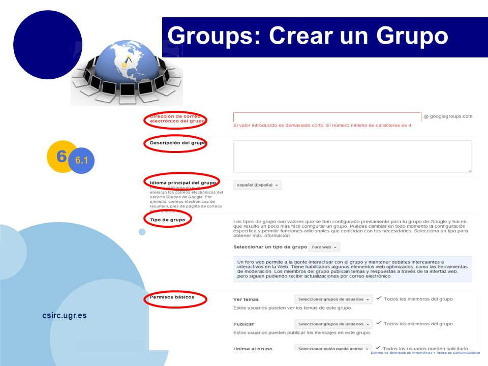 Groups: Crear un Grupo 6. 6.1.
