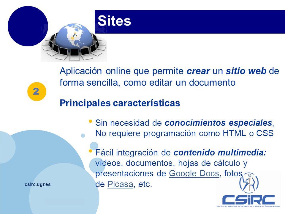 Sites Aplicación online que permite crear un sitio web de forma sencilla, como editar un documento.