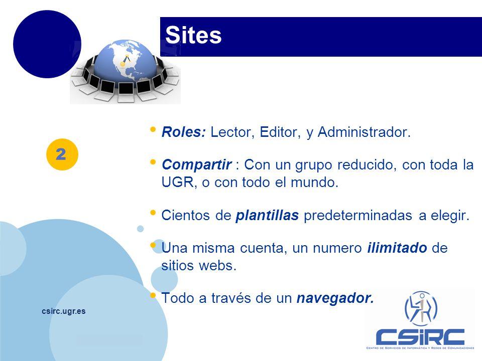 Sites 2 Roles: Lector, Editor, y Administrador.