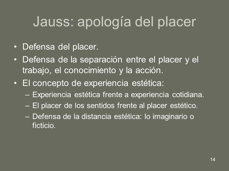 Jauss: apología del placer