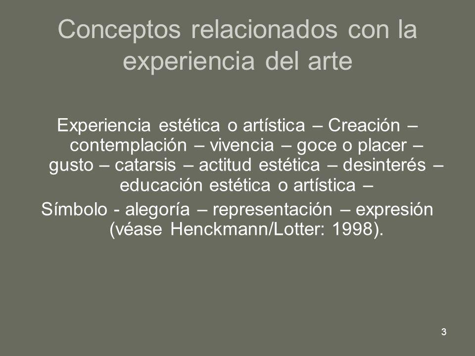 Conceptos relacionados con la experiencia del arte