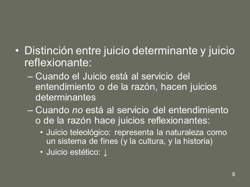 Distinción entre juicio determinante y juicio reflexionante: