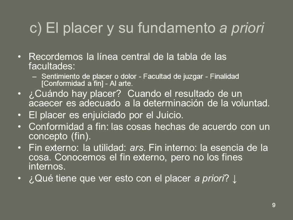 c) El placer y su fundamento a priori
