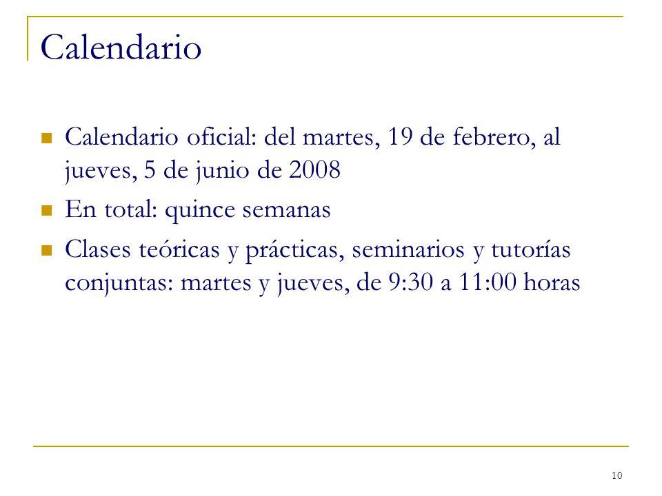 Calendario Calendario oficial: del martes, 19 de febrero, al jueves, 5 de junio de 2008. En total: quince semanas.