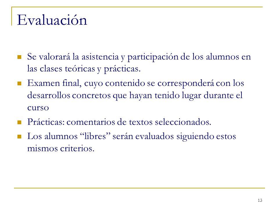 Evaluación Se valorará la asistencia y participación de los alumnos en las clases teóricas y prácticas.