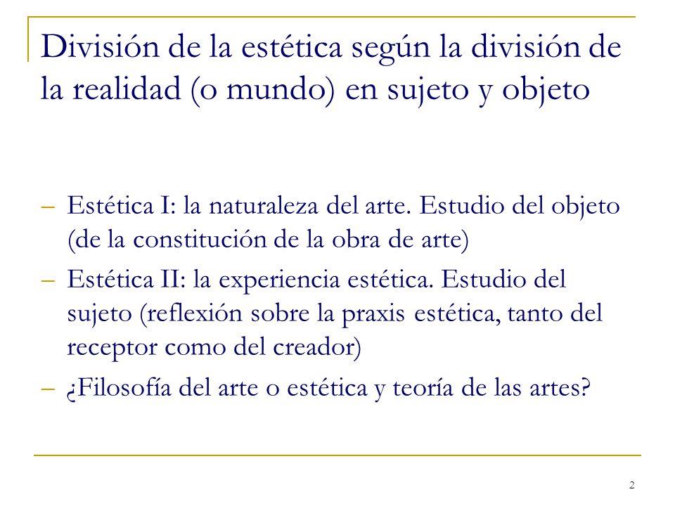 División de la estética según la división de la realidad (o mundo) en sujeto y objeto