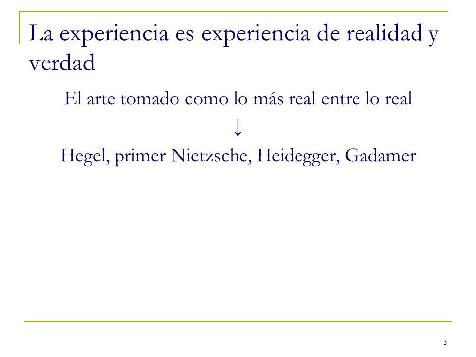 La experiencia es experiencia de realidad y verdad