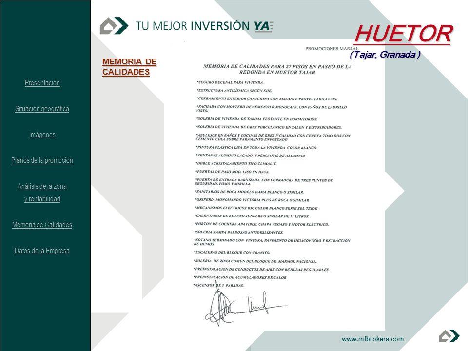 HUETOR (Tajar, Granada ) MEMORIA DE CALIDADES Presentación