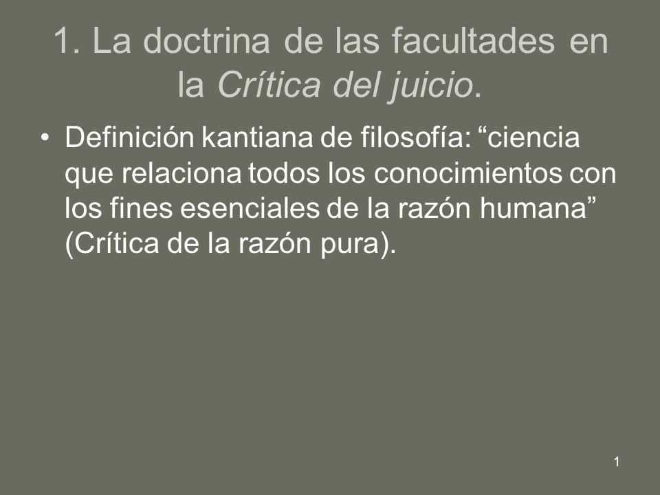 1. La doctrina de las facultades en la Crítica del juicio.