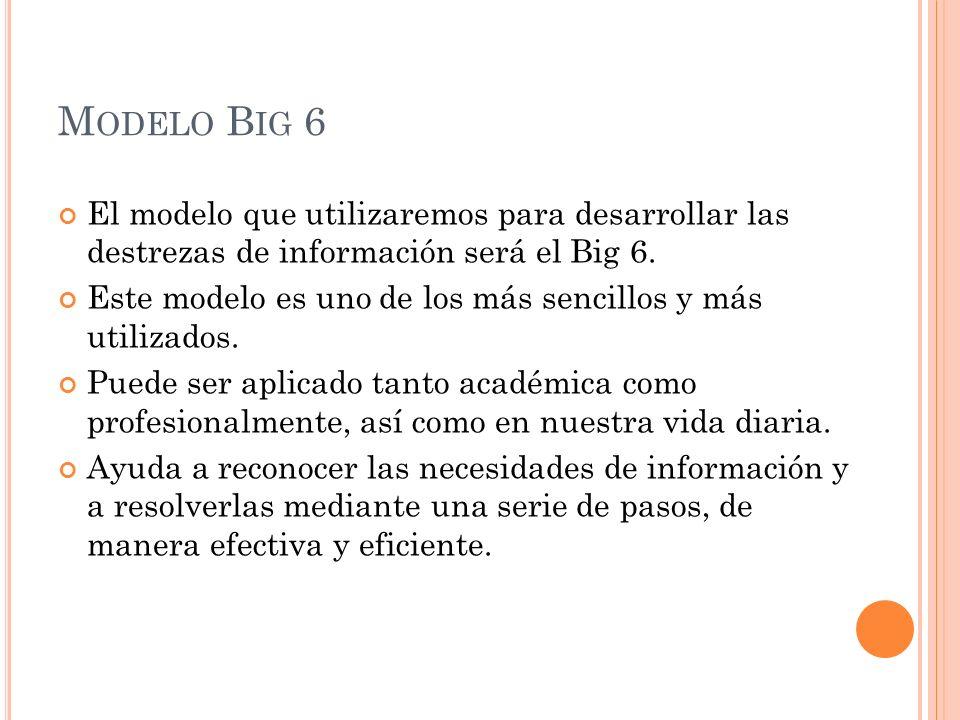 Modelo Big 6 El modelo que utilizaremos para desarrollar las destrezas de información será el Big 6.
