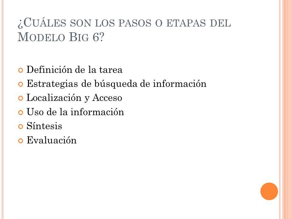 ¿Cuáles son los pasos o etapas del Modelo Big 6