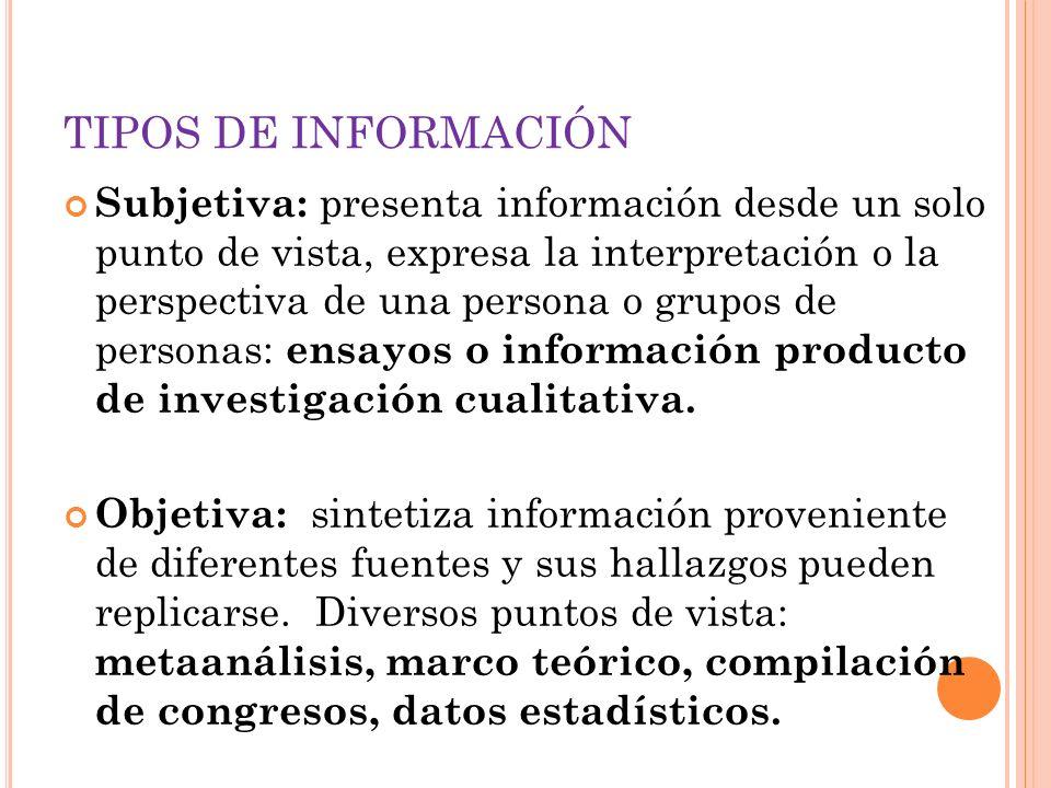 TIPOS DE INFORMACIÓN