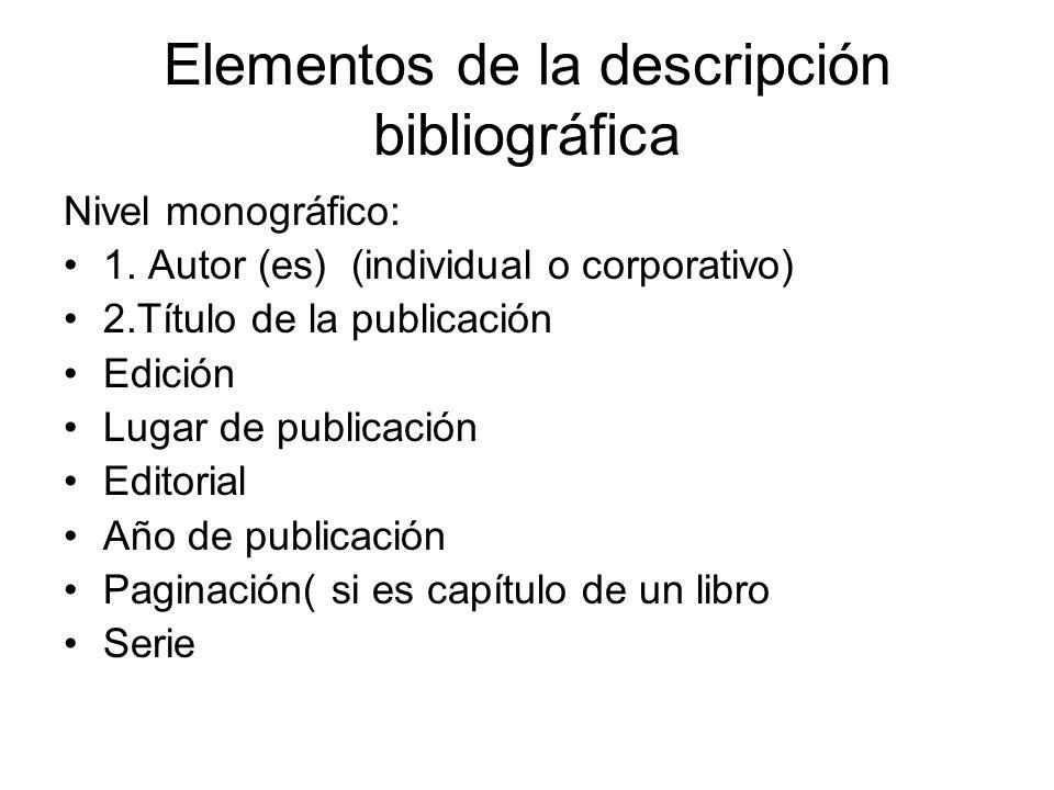 Elementos de la descripción bibliográfica