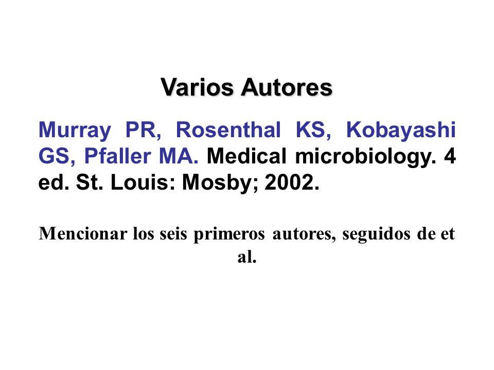 Mencionar los seis primeros autores, seguidos de et al.